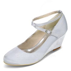 Women's Closed Toe Pumps Wedges Wedge Heel Satin Buckle Wedding Shoes