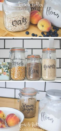 Pantry Canister Labels // Hand Lettered Labels // Pantry Organization //  Via Lou U0026 Letter Paper Co.