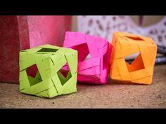 Cubo tejido - Ardono - Lampara - Jugete / Origami modular - YouTube