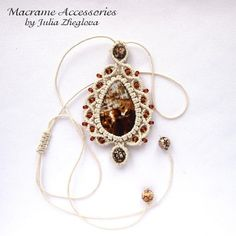 Macrame pendant Drop with agate cabochon brown beaded por makrame