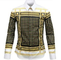 2014 real promotion freeshipping full cotton casual shirts grid star style fashion men baroque geometry long-sleeve shirt slim