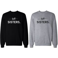 Matching BFF Black and Grey Sweatshirts for Best Friends BFF Sisters ($49) ❤ liked on Polyvore featuring tops, hoodies, sweatshirts, shirts, sweaters, black and grey shirt, sweat tops, sweatshirt shirts, shirts & tops and sweatshirts hoodies