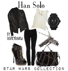 Dress Like A Star Wars Character - Ideas of Star Wars Outfits - DisneyBound stylist Leslie Kay has created outfits based off of classic Star Wars characters. Star Wars Outfits, Disney Bound Outfits, Disney Inspired Outfits, Themed Outfits, Disney Style, Han Solo Outfit, Classy Outfits, Cute Outfits, Estilo Disney