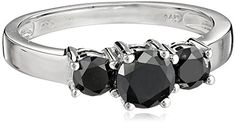 #blackdiamondgem 14k White Gold Black Diamond 3-Stone Ring (1 cttw), Size 5	by Amazon Collection - See more at: http://blackdiamondgemstone.com/jewelry/wedding-anniversary/engagement-rings/14k-white-gold-black-diamond-3stone-ring-1-cttw-size-5-com/#sthash.KJVb7sUm.dpuf