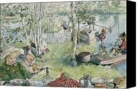 Crayfishing Painting by Carl Larsson - Crayfishing Fine Art Prints and Posters for Sale