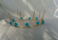 Carnaval Gold Wire Crown with large blue jewel beads  by WirePrincess, $65.00