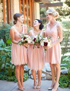 $89.99 Cute V-neck Ruffles Knee-length Pink Bridesmaid Dress, Short bridesmaid dresses,bridesmaid dresses 2016,chiffon bridesmaid dresses,pink bridesmaid dress for women