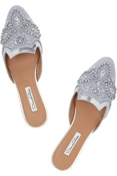Oscar de la RentaSpanish Mule embellished canvas and leather slippers