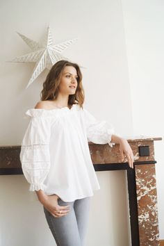 Blouse Philippine www.lescomptoirsd... #lescomptoirsdorta #eshop #blouse #philippine #blanche #white #bohemian #spring #collection #crush