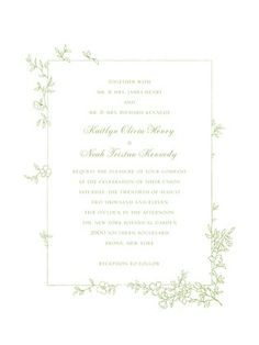 Garden Simplicity - Thermography Wedding Invitations - Petite Alma - TH Celery - Green : Front