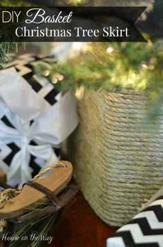 DIY Basket Christmas Tree Skirt from houseontheway.com. Created from a cardboard box and rope, this Faux Basket makes the best cover for a tree stand. It can be customized to the size you need for your Christmas tree.