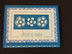 Aqua Die Cut Just a Note Card by LoveDebbiesDesigns on Etsy