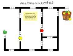 Here's a template that students can fill out with OzoCodes. The objective is to have the Ozobot travel to each type of apple once before… Worksheets, Innovation, Universe, Challenge, Coding, Apple, Templates, Teaching, Activities