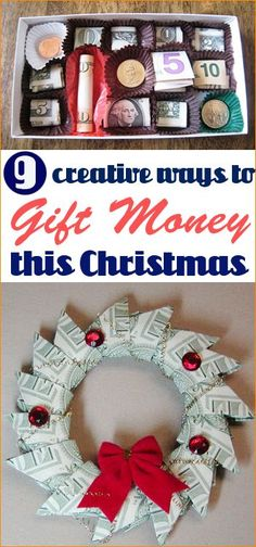 Creative Ways to Gift Money. Clever gifting ideas for teens and college students. Fun Christmas, birthday and graduation gifts. Money pizza, money jar, money candy box.