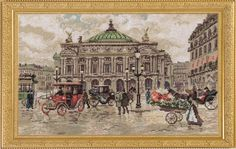 """Cross stitch kit   Paris. Grand Opera Gold series  100% AUTNENTIC   The size of the finished work: 40*25cm Technique: Counted cross Bekstich Circuit Type: Black and white Type of canvas / fabric: K04R metered Aida №14 """"Gamma"""" Color canvas / fabric: white Filling: Full Number of colors: 31  The frame in kit is not included  Manufacturer: Panna (Russia)"""