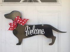 Dachshund Door Hanger, Dog Door Hanger, Dog Door Decoration, Dachshund, Welcome Sign by SassyHangUps on Etsy https://www.etsy.com/listing/270628468/dachshund-door-hanger-dog-door-hanger