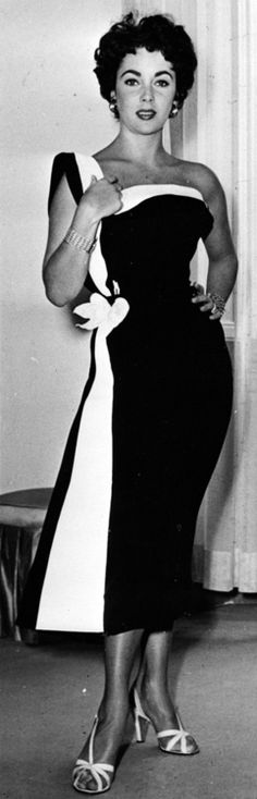 Elizabeth Taylor - fashion style 50s black and white sheath wiggle dress swag hip single strap strapless photo print ad movie star