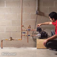 Do you have low water pressure even though the pipes are new? There are several possible causes, but if nothing else works, install a water pressure booster at the water meter. Low Water Pressure, Pressure Pump, How To Clean Copper, Diy Home Repair, Home Repairs, Diy Home Improvement, Home Projects, Household, Basements