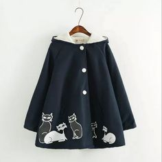 Japanese cat loose hooded cape coat
