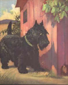 Scottie Dog, Scottish Terrier Spies a Rat by Wesley Dennis