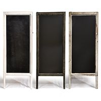 Good idea.  Could take old mirrors or those 3 fold room dividers and use those as a blackboard