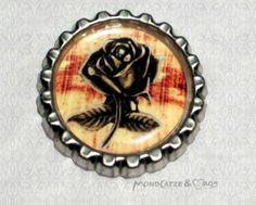 -s005- Kronkorken Magnet METAL ROSE bottlecap von Mondcatze´s Zauberwerkstatt auf http://de.dawanda.com/shop/Mondcatze