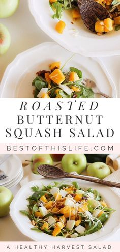 A Fall Salad with Roasted Butternut Squash and Apples Healthy Side Dishes, Good Healthy Recipes, Lunch Recipes, Gluten Free Recipes, Drink Recipes, Delicious Recipes, Squash Salad, Canadian Food, Roasted Butternut Squash