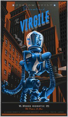 """The Virgile"" Re-interpretation of Movie Poster - Illustration and Graphic by Laurent Durieux (b. Vintage Robots, Retro Robot, Vintage Music, Laurent Durieux, Science Fiction Kunst, Poster Design, Graphic Design, Robot Art, Robots Robots"