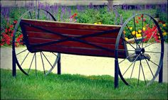 old+wagon+wheel+bench | Found on fineartamerica.com
