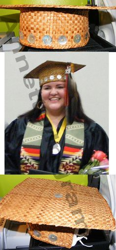 "This is the cedar graduation cap I made for my daughter with inspiration from Kittehrloaf on deviantART. The entire cap was plaited. The ""cap"" was lined with white buckskin to make it more comfortable when wearing. Thirteen abalone buttons were added to the band since she graduated in 2013"