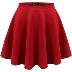 Thanth Womens Versatile Stretchy Pleated Flare Short Skater Skirt (16 CAD) ❤ liked on Polyvore featuring skirts, mini skirts, red flare skirt, red circle skirt, flared skirt, pleated mini skirt and short skirts