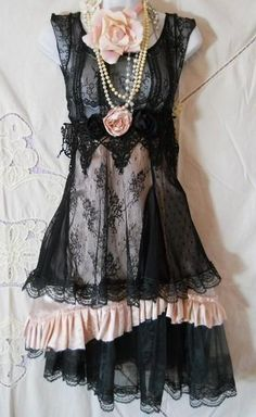 Black lace dress tulle pink ruffled silk rose romantic..(FYI the link goes to an app for shopping...boooooo)