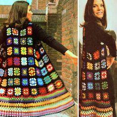 Most Popular Vintage Crochet Shawl And Wraps Ideas Granny Square Häkelanleitung, Granny Square Sweater, Granny Square Crochet Pattern, Granny Squares, Crochet Waistcoat, Crochet Tunic, Crochet Skirts, Blanket Crochet, Motif Simple