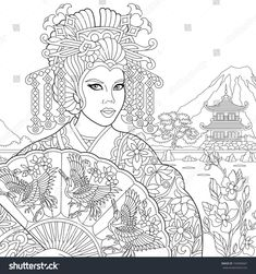 Coloring page of geisha (japanese dancing actress) holding paper fan with crane birds. Freehand sketch drawing for adult antistress coloring book in zentangle style.
