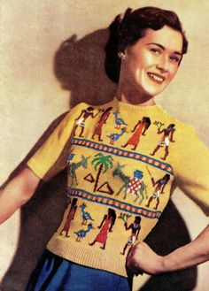 Oh man kind of cool. Knitting Pattern Egyptian Fair Isle Sweater Jumper vintage retro It's the original ugly sweater! Crochet Vintage, Vintage Knitting, 1940s Fashion, Vintage Fashion, Fair Isle Knitting, Fair Isles, Vintage Patterns, Knitting Patterns, Sweater Patterns