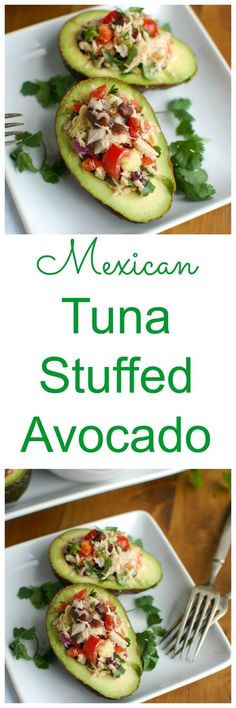 Mexican Tuna Stuffed Avocados mixes tuna, black beans, fresh vegetables, lime juice and spices to create a healthy and easy snack. // A Cedar Spoon #ad #addavocado #LoveOneToday