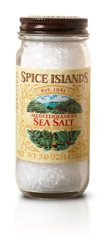 SEA SALT  We collect our Spice Islands® sea salt from the low waters of the Mediterranean. Gathered in pans, we leave it in the warm sun and gentle breeze to evaporate. The result is a salt that's rich in trace minerals and flavorful without being overpowering or too salty.    Unlike ordinary table salt, the large crystals are perfectly suited for grinders and mills. Use it to transform and draw out the natural flavor of virtually any dish.