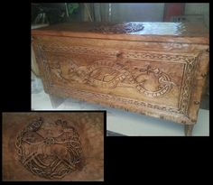 Viking chest woodcarving. Viking trunk carved in by MedievalCloset