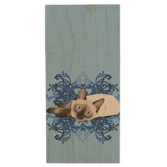 #vintage - #Siamese Cat With Blue Floral Design Wood USB Flash Drive
