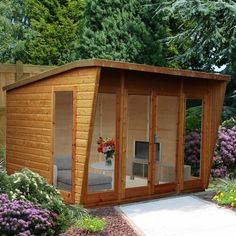 Xzavier 10 x 8 Ft. Shiplap Summer House Sol 72 Outdoor Installation Included: No Corner Summer House, Summer House Garden, Home And Garden, Small Garden Gym, Summer Houses Uk, Small Summer House, Backyard Office, Garden Office, Backyard Guest Houses