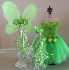 Tinkerbell Fairy Costume Green Fairy Costume by partiesandfun