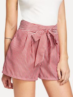 Shop Self Tie Waist Striped Shorts online. SheIn offers Self Tie Waist Striped Shorts & more to fit your fashionable needs. Short Outfits, Short Dresses, Summer Outfits, Cute Outfits, Cute Shorts, Striped Shorts, Casual Shorts, Short Elegantes, Type Of Pants