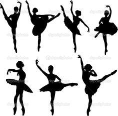 Set van ballet dansers silhouetten. vectorillustratie