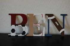 Sports themed nursery letters baby boy Piquet needs a name!!! ;)