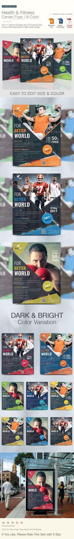 Health & Fitness Flyer Template PSD, Vector EPS, AI