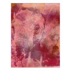 Pink Elephant Grunge Postcard