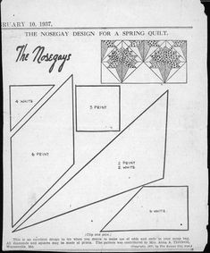 Kansas City Star Quilt Blocks - The Nosegays - February 1937 Vintage Quilts Patterns, Star Quilt Patterns, Patchwork Patterns, Pattern Blocks, Old Quilts, Antique Quilts, Barn Quilts, Kansas City, Quilting Templates