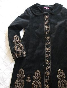 Black Velvet Antique Russian Boho Style Gold Embroidered Coat by Indiska Size M | eBay