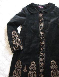 Black Velvet Antique Russian Boho Style Gold Embroidered Coat by Indiska Size M   eBay
