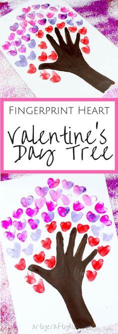 Arty Crafty Kids Valentines Day Crafts for Kids Fingerprint Heart Valentine's Day Tree art for kids Valentine's Day Crafts For Kids, Valentine Crafts For Kids, Daycare Crafts, Valentines Day Activities, Preschool Crafts, Children Crafts, Kids Diy, Valentines Crafts For Kindergarten, Baby Crafts